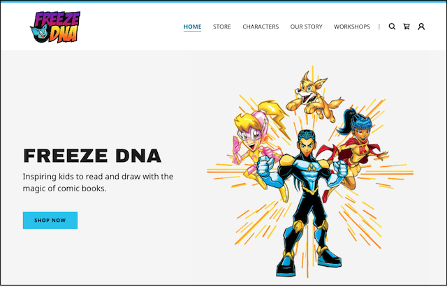 Freeze DNA webstore home-page