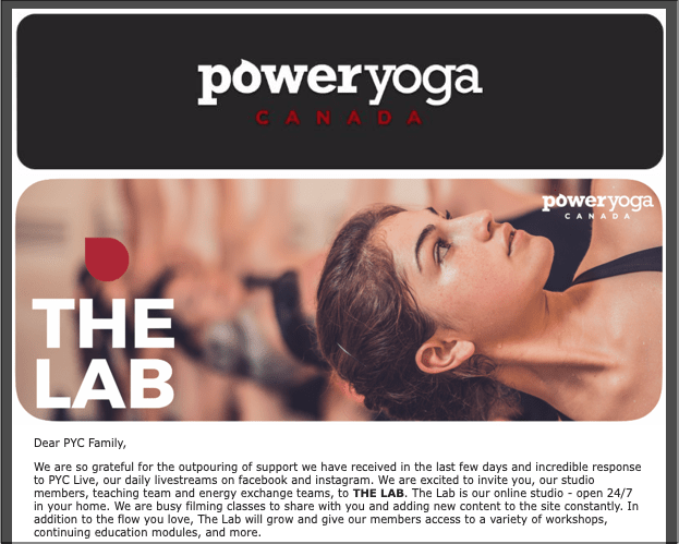 Communication Plan Power Yoga Canada Crisis Email