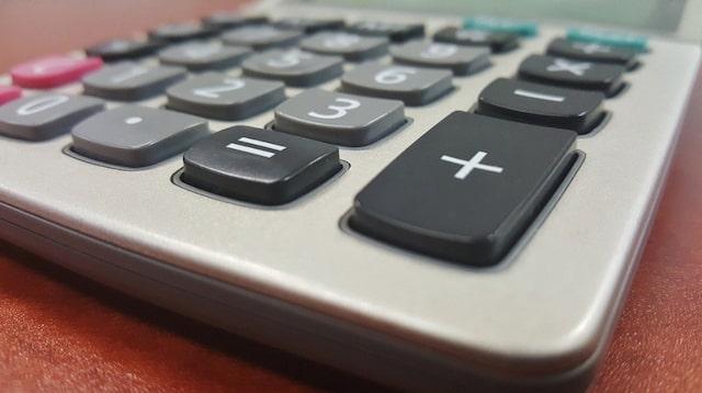 Financial Statement Closeup of Calculator