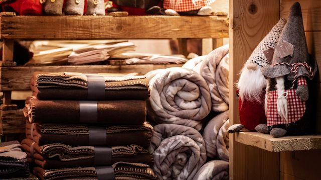 Visual Merchandising Christmas Display with Blankets