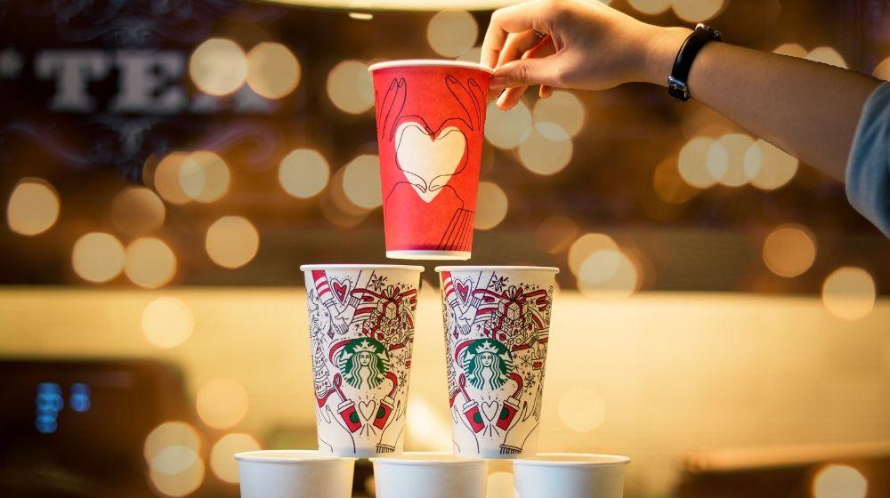 Visual Merchandising Starbucks Cup Pyramid