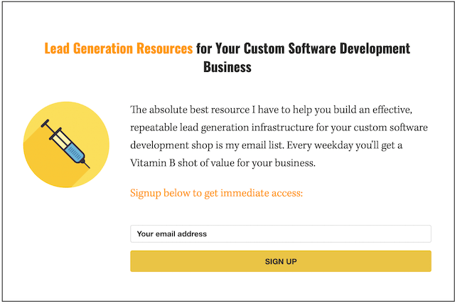 Inbound Marketing Email Signup Form