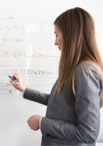 Leadership Skills Woman Writing on White Board