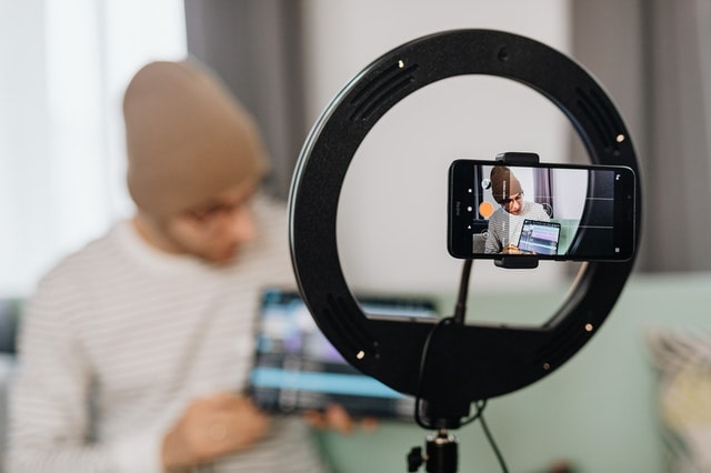 Man filming a tutorial