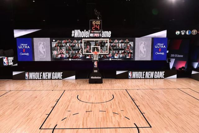 NBA court with virtual fans in seats