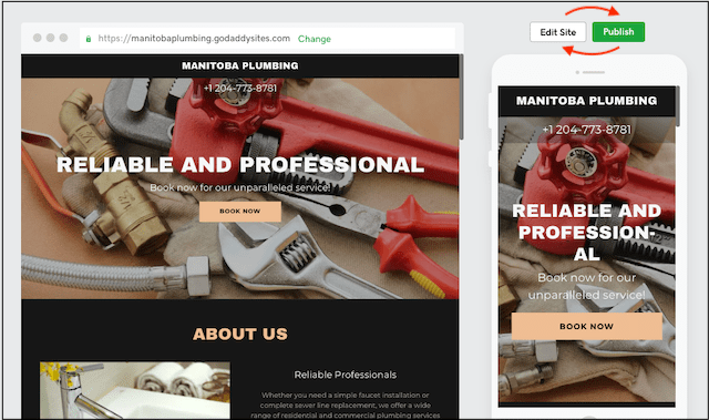 Plumbing Jobs Website Builder Preview Screen