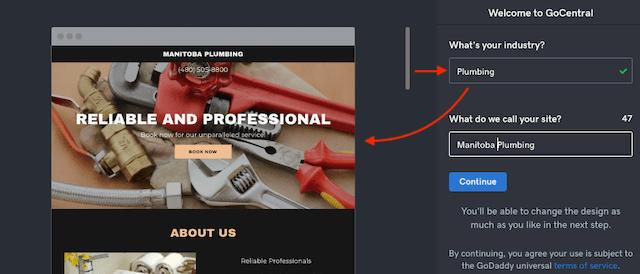 Plumbing Jobs Website Builder Suggested Template