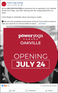 Power Yoga Canada Facebook Post Announcing Reopening