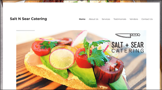 Salt N Sear Catering Website Home Page