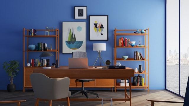 Side Jobs Neat Organized Blue Room
