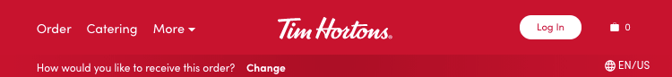 Tim Hortons navigation bar at top of website