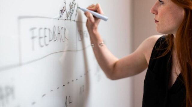 Web Design Company Woman Writing on White Board