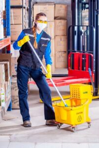 Workplace Health and Safety Woman Mopping Floor