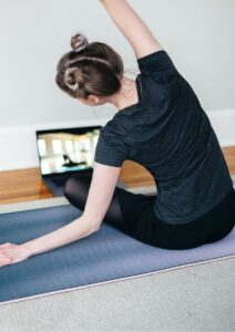 Zoom Video Conferencing Woman in Yoga Class