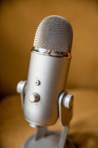 Podcast-quality microphone sitting on a table