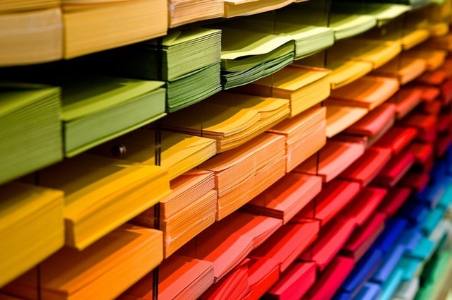 Business Marketing Display of Colored Paper
