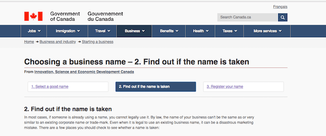 Business Name Search Government of Canada