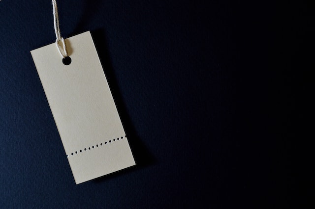 Close-up of blank price tag