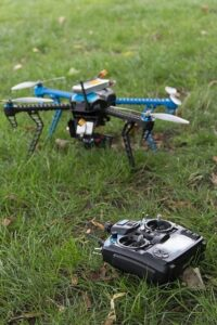 Drone sitting on grass