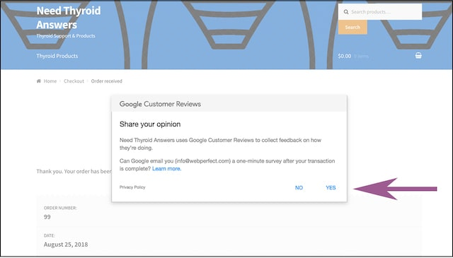 Google customer reviews opt-in message