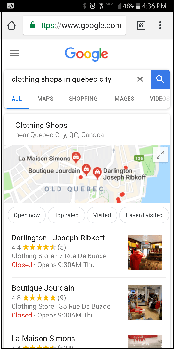 Google Maps Clothing Shops Quebec City