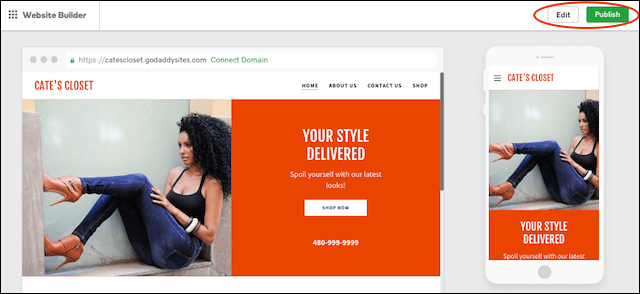 How to Make a Website GoDaddy Website Builder Preview Publish