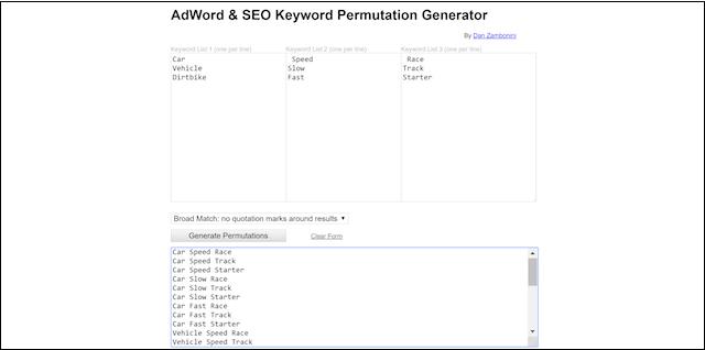 Keyword Planner Adword SEO Permutation Generator