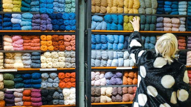 Online Purchase Woman Selecting Yarn