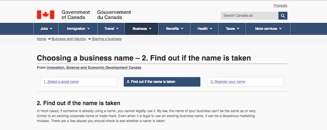 Register Business Name Check