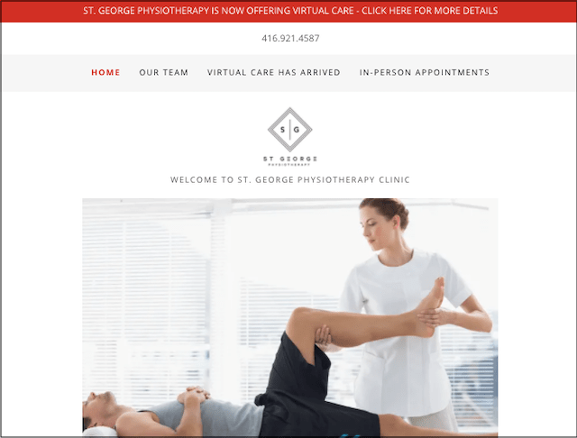 St. George Physiotherapy Clinic website