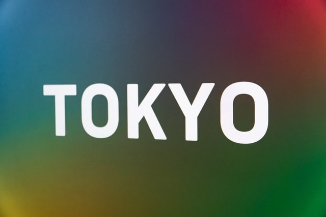 TOKYO printed on a rainbow-coloured background